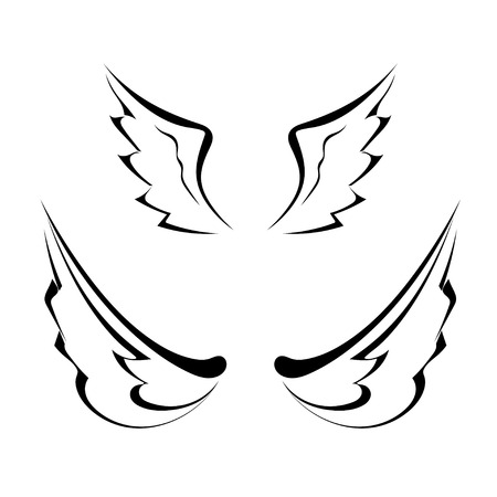 bird  celtic: Black tattoo wings isolated on white background