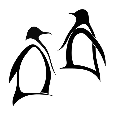 1 2 month: Two silhouette of penguin Illustration