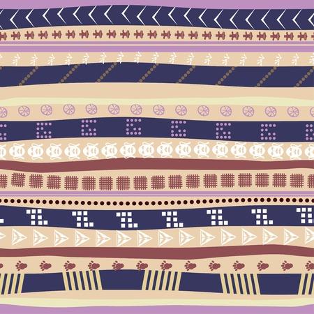 animal tracks: Seamless pattern con maschere etniche e tracce di animali