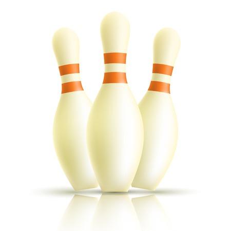 quilles: Skittles de bowling sur un fond blanc