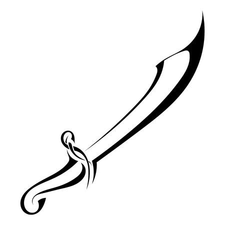 sabel: Saber silhouet op een witte achtergrond