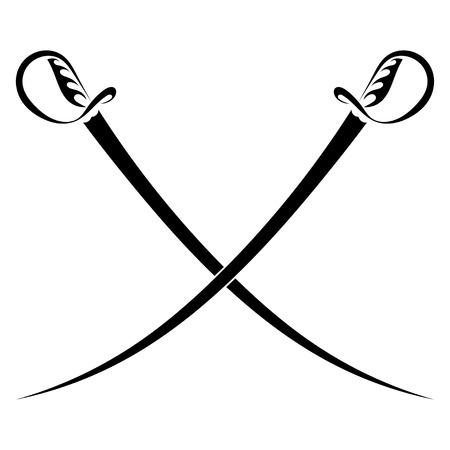crossed swords: Espadas cruzadas sobre un fondo blanco