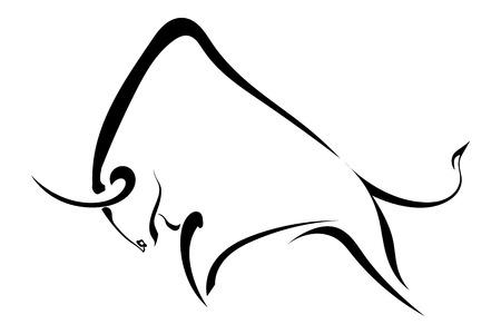 Silhouette strong wild bull. Vector