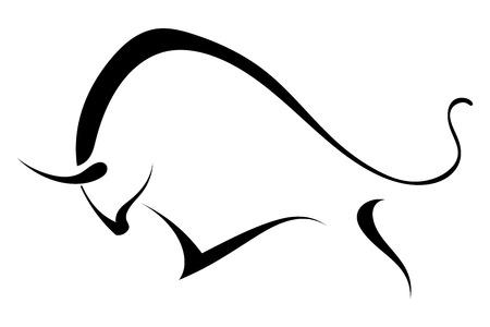 야생 황소의 실루엣.