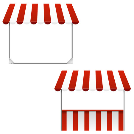 Set of striped awnings Vector