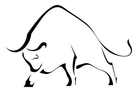 toro: Negro silueta de un fuerte toro salvaje
