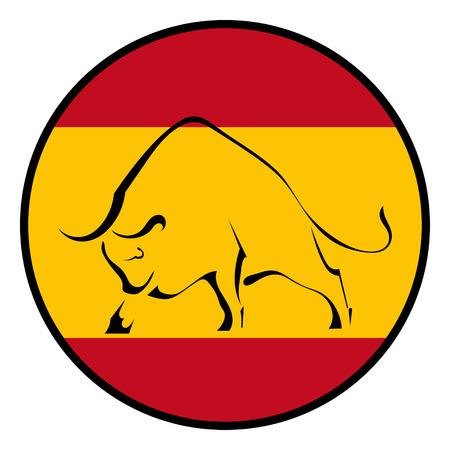 スペインの旗の国旗の色で雄牛のシルエット