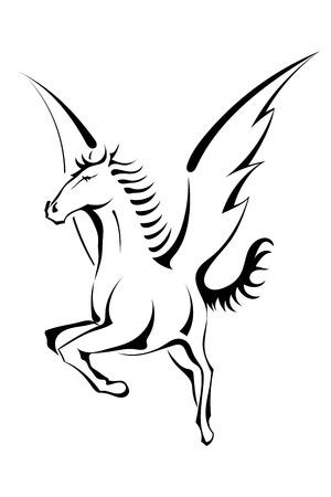 Black silhouette of Pegasus Vector