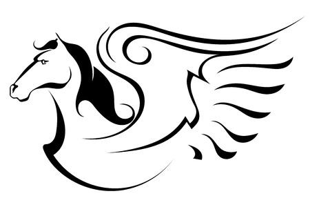 pegaso: Silueta de Pegasus Vectores