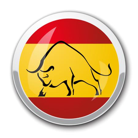 bandiera spagnola: Silhouette di un toro nella bandiera nazionale spagnola