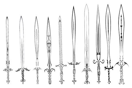 cuchillos: Conjunto de siluetas de espadas tatuaje Vectores