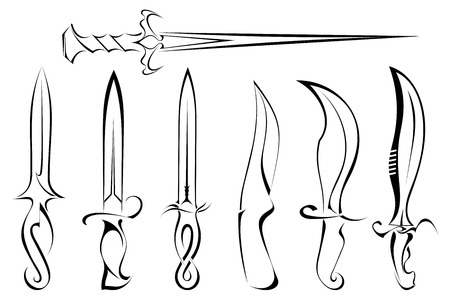 Set of silhouettes of knife tattoo Vector