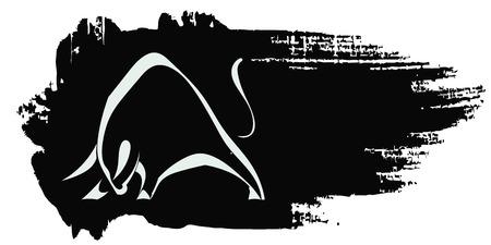 블랙 지저분한 배경에 강한 충전 황소 실루엣