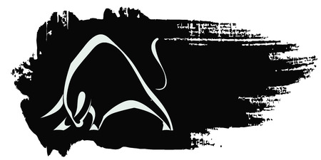 Silhouette strong charging bull on black grungy background Vector