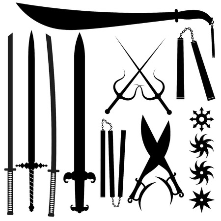 broadsword: Set of silhouettes bladed weapons