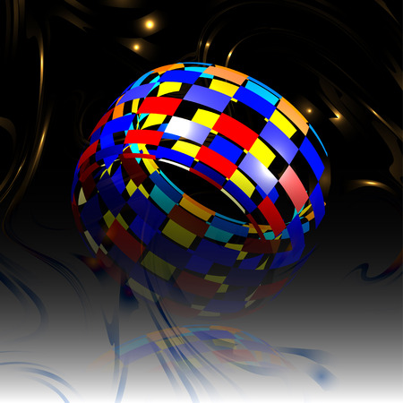 hemisphere: Abstract background with colored  hemisphere Illustration