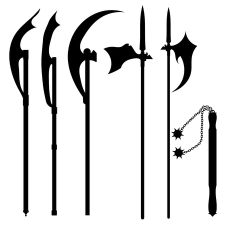 Set of silhouettes of halberds Vector
