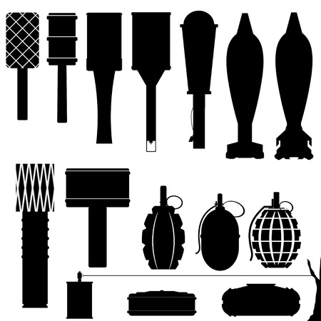 Set of silhouettes of grenades and mines