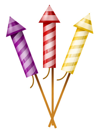 Three colorful fireworks rocket Vector