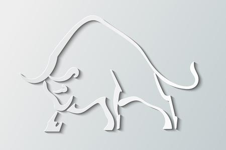 灰色の背景にシルエットの野生の雄牛