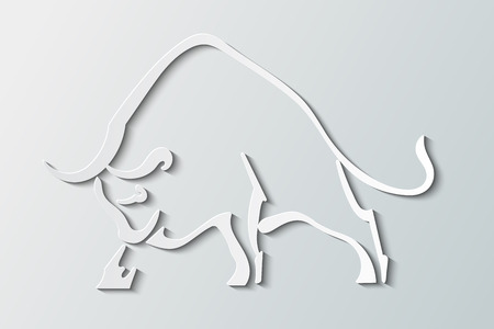 Silhouette wild bull on a gray background Illustration