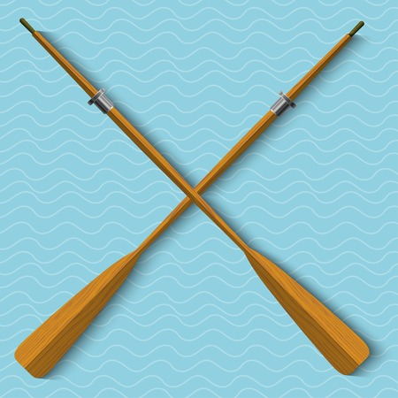 oars: Two wooden oars on wavy background