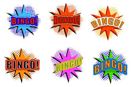 Cartoon set of explosions with BINGO! Vector