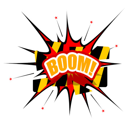 Cartoon BOOM with disrupted barrier Vector