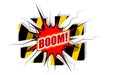 Cartoon Boom! explosion with disrupted barrier  Vector