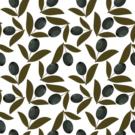 Seamless texture with olive fruits Vector