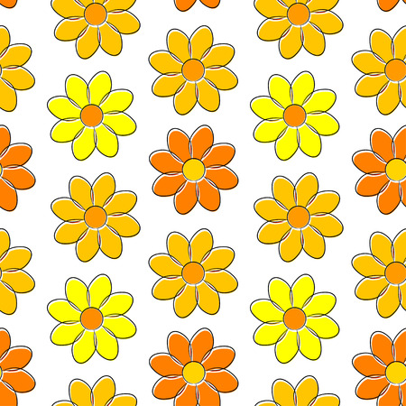 daisie: Seamless pattern with yellow camomiles