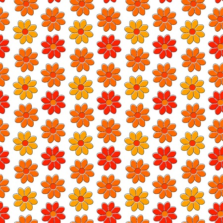 daisie: Seamless pattern with yellow and red camomiles