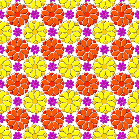 daisie: Seamless texture with yellow and red camomiles Illustration