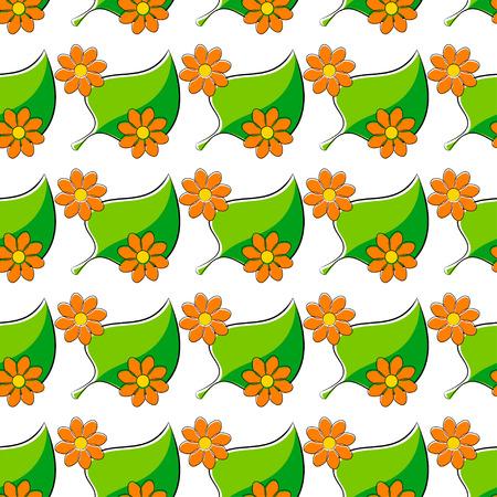 daisie: Seamless pattern con le camomille e foglia verde Vettoriali