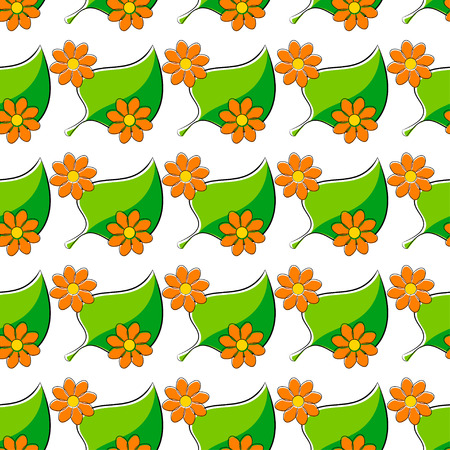 daisie: Seamless pattern with chamomiles and green leaf
