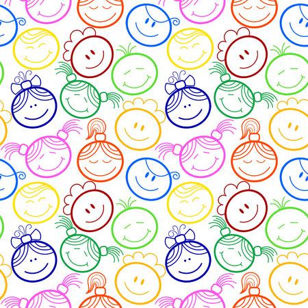 子どもたちの顔とシームレスなパターン  イラスト・ベクター素材