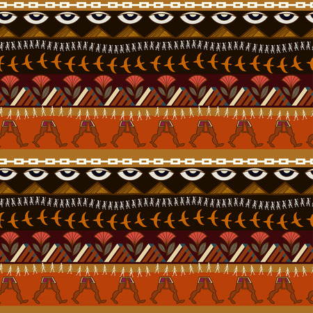 Seamless ethnic pattern with elements of Egyptian style Vector