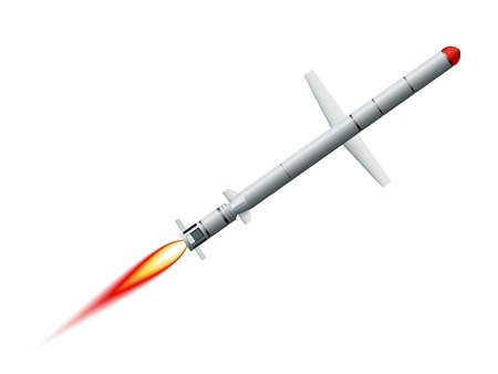 cruise missile: Flying cruise missile on a white background Illustration