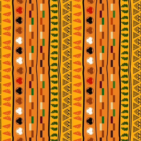 african fabric: Seamless ethnic pattern with masks Illustration