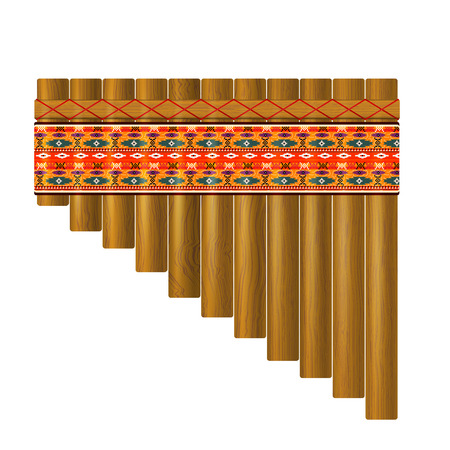 panpipe: Realistic portrayal of the pan flute with traditional Indian pattern