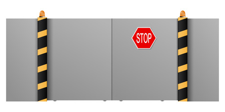 metal gate: Metal gate with a stop on a white background. Vector illustration