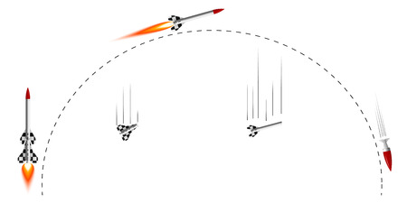 Illustration of two-stage rocket flight cycle Illustration