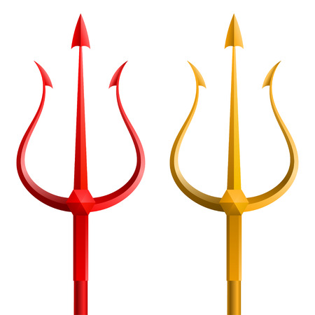 Red and gold trident on a white background Vector