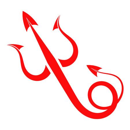 Czerwony diabeł z ogonem Trident