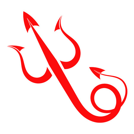 tail: Red Trident devil with tail Illustration