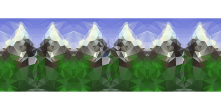 hill distant: Polygonal seamless pattern with mountains