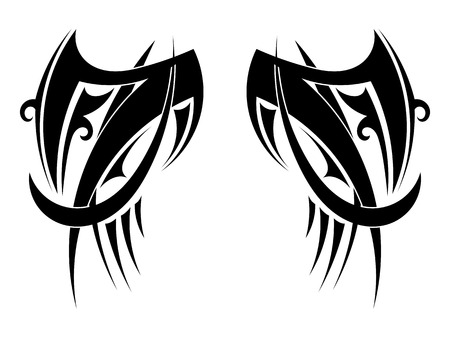 celtic symbol: Graphic Tribal tattoo wings. Vector illustration