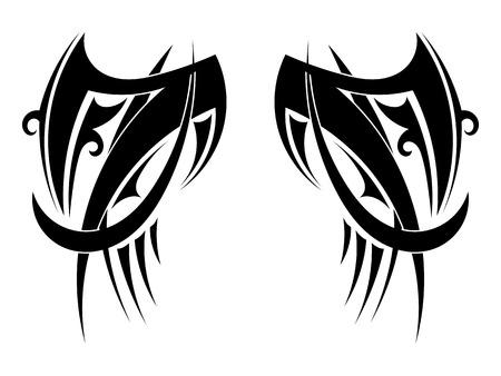 tatouage ange: Graphique ailes de tatouage tribal. Vector illustration