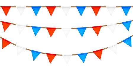 Touwen met vlaggen. Elementen voor uw ontwerp. Vector illustratie Stock Illustratie