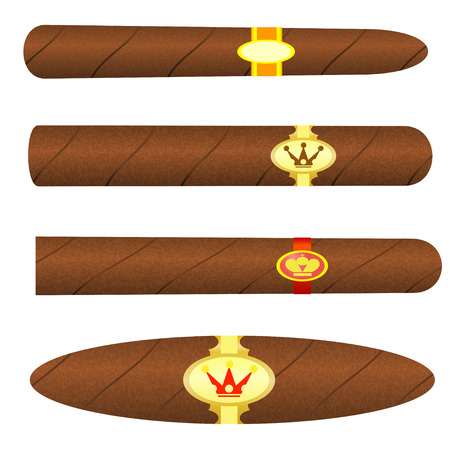 havana cigar: Set kubinskiyh cigars on white background. Vector illustration